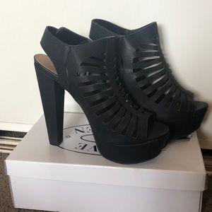 Black Strappy Platform Heels (Speed Limit 98)